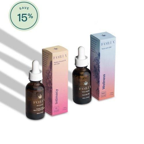 Foria Wellness Multi Pack saving 15%, awaken arousal oil and wellness tonic, buy online at authentic organic CBD