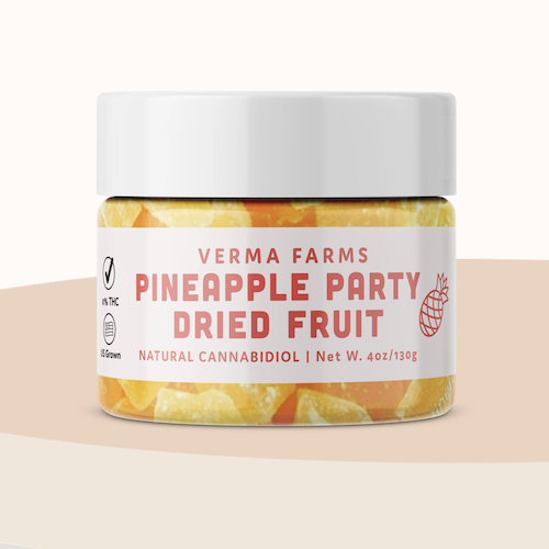 Verma Farms 250Mg CBD infused pineapple dried fruit, buy online at authentic organic CBD