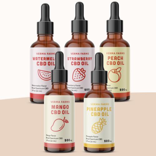 Verma Farms 5 pack CBD OIl Fruit flavours, 500 Mg CBD, buy online Japan, thailand, vietnam, inida, usa, england, spain, europe