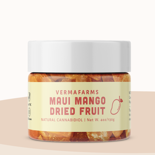 Verma Farms Mango Dried Fruit infused with 250mg CBD, Buy online Japan