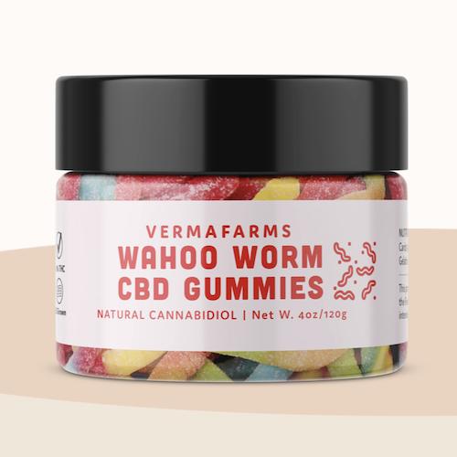 Wahoo Worm CBD Gummies from verma farms, 250 Mg CBD, global shipping from hawaii