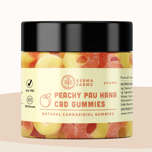 peachy pau hana CBD gummies from verma farms, 500Mg CBD, buy online at authentic organic CBD,